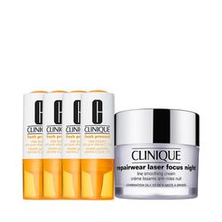 Kit-Facial-Clinique-Fresh-Pressed-Vitamina-C---Hidratante-Noturno-Repairwear-Laser-Focus-Night