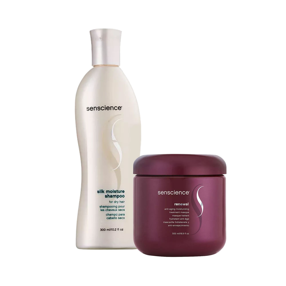Kit Shampoo Silk Moisture 300ml + Máscara de Tratamento Renewal Anti-Aging Moisturizing 500ml
