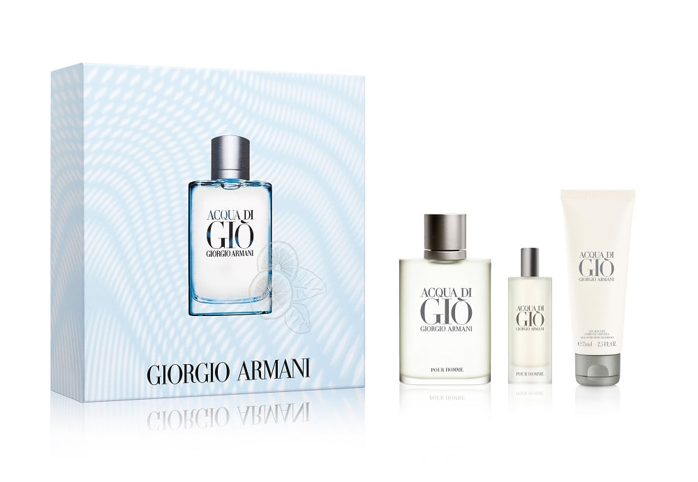 Kit Perfume Acqua Di Gio Eau de Toilette 100ml + Eau de Toilette 15ml + Shower Gel 75ml